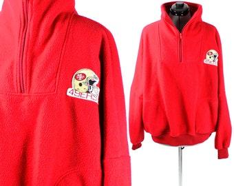 Vintage Retro Red NFL San Fransisco 49ers Fleece Medium/Large