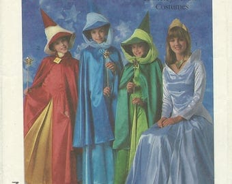 UNCUT Simplicity 8328 Disney Aurora Flora Fauna and Merryweather Costume Pattern Girls' Size 6-8