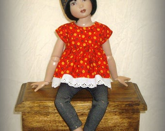 "Handmade to fit 14"" Helen Kish Chrysalis Dolls, ""Calico Summer"" Babydoll Top, Hat, Sparkly Jean Leggings in Red Floral and Stretch Denim"