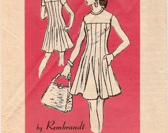Fab Uncut Vintage 1960s or 1970s Prominent Designer A947 Rembrandt Yoked Flared Mini Dress Sewing Pattern B34
