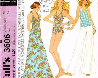 Neat Vintage 1970s McCall's 3606 One Piece Swimsuit, Maxi Dress or Sleeveless Top and Wide Leg Pants Sewing Pattern B36 W28