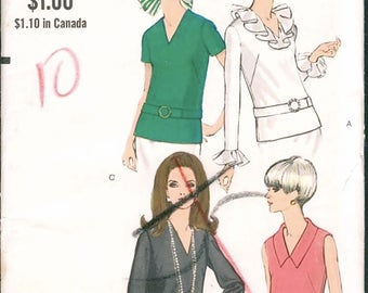 Fab Mod Uncut Vintage 1960s Vogue 7403 V Neck Blouse with Ruffle, Collar and Sleeve Options Sewing Pattern B32.5