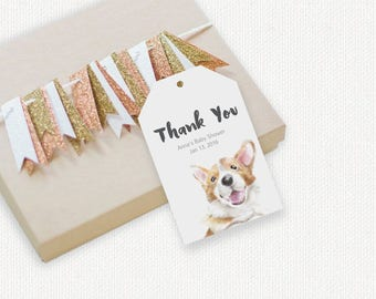 Corgi Birthday Party Thank You Tag, Baby Animal Theme, Woodland Baby Shower, Cute Dog