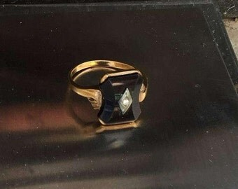 Victorian Mourning Ring 10k Diamond on Onyx 10k Art Deco Edwardian cocktail ring solid yellow gold size 7 to 7.5 and 3 grams