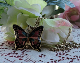 Cloisonne Butterfly pendant on chain double sided beautiful colors