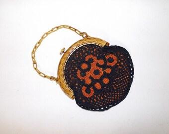 Vintage 1930s crotchet crotched  navy blue orange floral grab handbag bag with celluloid frame