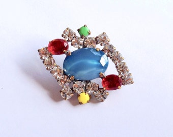 Blue Art Glass Rhinestone Button Glass Buttons DIY Crafting Necklace Pendant Sewing Findings