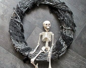 Halloween Wreath:  Skeleton Wreath, Scary Wreath, Creepy Wreath