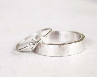 sterling silver wedding band - tiny arrow ring - mens ring -  womens ring - mens wedding ring - rustic hammered ring