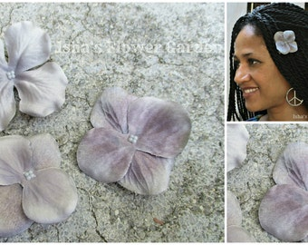 Gray hair flower clip, gray barrette, gray hydrangea, gray flower hair