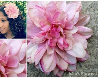 Dahlia hair flower clip, realistic, large pink hair flower, dahlia hair flower barrette