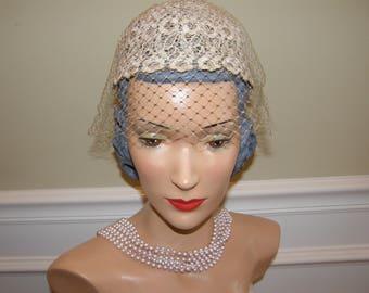 Vintage Bridal Cap of Ivory Lace with Veil Simple and Elegant! 1950s Wedding Hat Vanilla Beige Veil NO HOLES!