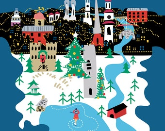 """11 x 17"""" Winter Poster of Frederick, MD"""