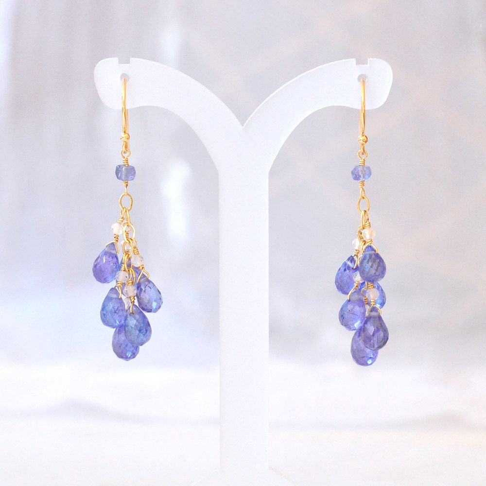 14k gold tanzanite earrings december birthstone earrings