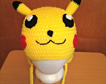 Crochet Pikachu Hat, Earflaps, Adult, Teen, Child Sizes, Pokemon, Nerdy Gift, Gamer Gift, Pokemon Go, Anime Fan, Ready To Ship