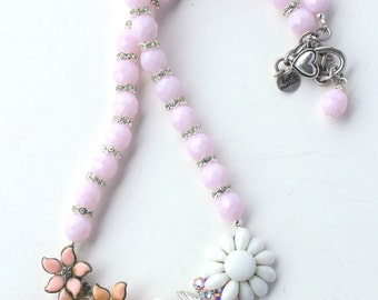 Pink Necklace, Flower Necklace, Flower Jewelry, Mod Necklace, Statement Necklace, Recycled Necklace, Recycled Jewelry, Upcycled Jewelry
