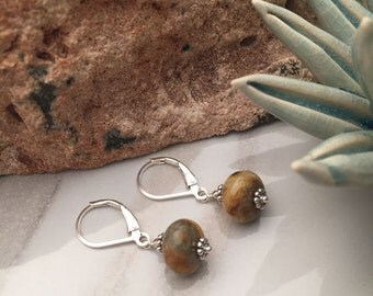 Crazy Agate - Sterling Silver Earrings - 5539