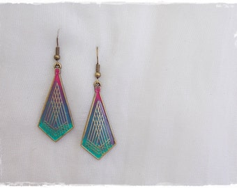 Long Geometric Earrings, Brass Patina Earrings, Ombre Diamond Earrings, Tribal Boho Earrings, Ethnic Yoga Earrings, Dagle Gradient Jewelry