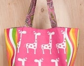 Hot Pink Giraffe Tote bag- Cotton- Pink, Yellow, Lime Green Swirls- Dots- Paisley- by beckyzimmdesign