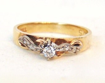 9K Vintage Diamond Engagement Ring in Yellow and White Gold, Promise Ring, Pinky Ring, 9CT