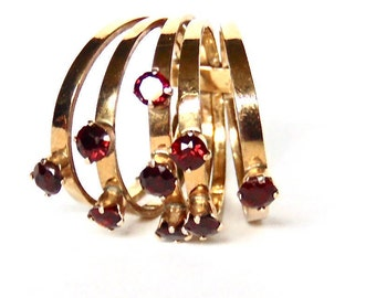 Garnet 5 Band Stacking Ring in 14K Yellow Gold, Vintage