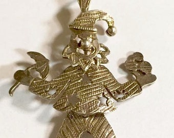 Vintage Sterling Silver Articulated Clown Pendant