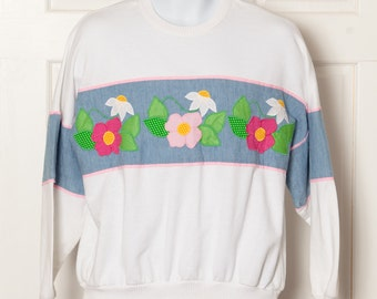 Vintage 80s 90s Spring Sweatshirt with flowers - M