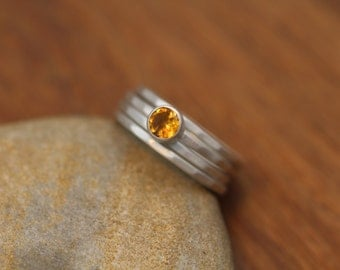 Citrine Stacking Ring Set, Matte Finish - Citrine Silver Ring Set - Silver Stacking Rings - Hand Made in Recycled Sterling Silver - 4x Rings