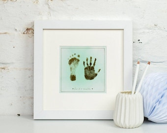 Personalised Child's Gold Foil Footprint And Handprint Mounted Art Print
