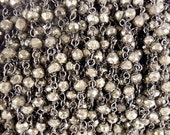 35% off Wholesale Gemstone Chain- Pyrite Beaded Black Polished Sterling Silver Rosary Chain BY FOOT (CHN-262)