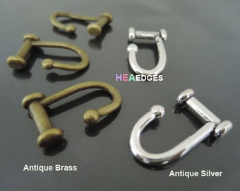 Jewelry Clasp - 2pcs Antique Brass or Antique Silver Hook Toggle Clasp Clousure Fastener Bracelet Clasps