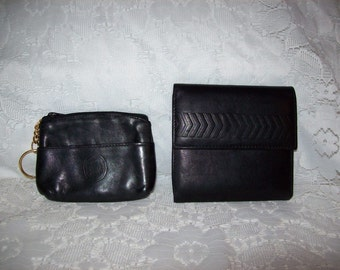 Vintage Ladies Black Leather Amanda Smith Wallet & Leather Coin Purse Both for 6 USD