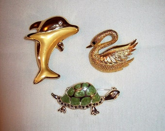 Vintage Gold Swan, Dolphin & Silver Turtle Brooch Pins All 3 Only 7 USD