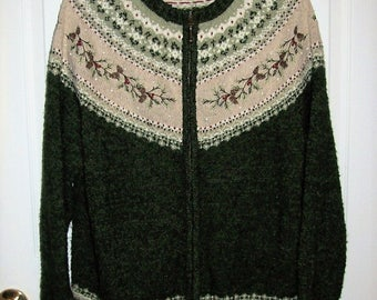 Vintage Ladies Zip Front Cardigan Sweater by Croft & Barrow 2X Only 8 USD