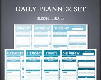 Printable Daily Planner Set - Weekly Planner Set - Blissful Blues - Printable Planner Set