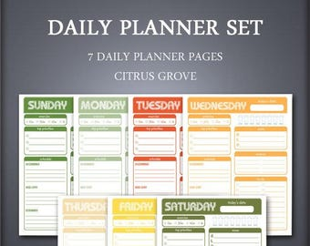 Printable Daily Planner Set - Weekly Planner Set - Citrus Grove - Printable Planner Set