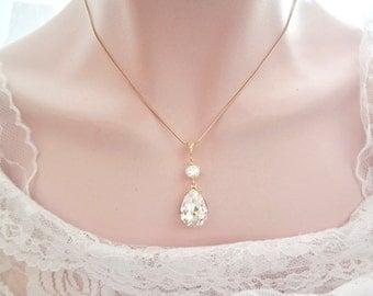 Gold necklace, Swarovski crystal necklace, Gold crystal necklace, Wedding necklace, Bridesmaid necklace, Bridal necklace, SOPHIA