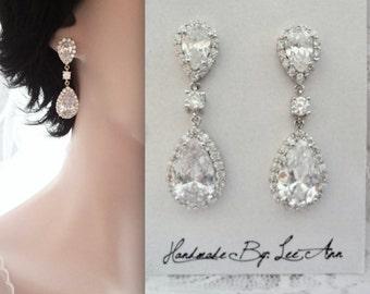 Cubic Zirconia earrings, Brides earrings, High quality, Teardrops, Wedding earrings, Mother of the bride earrings, Anniversary Gift,VICTORIA