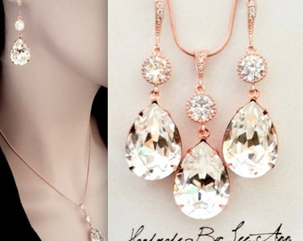 Rose Gold Crystal jewelry set, Swarovski crystal jewelry set, Brides jewelry set, Rose gold jewelry set, Wedding jewelry set, SOPHIA