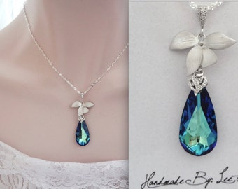 Bermuda blue necklace ~ Swarovski crystal ~ Sterling chain ~ Peacock ~ Destination wedding jewelry ~ Silver Orchid necklace ~ Gift