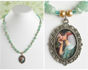 The Soul of a Rose. Vintage John William Waterhouse Art Pendant. With Green Aventurine Crystals. Silver.
