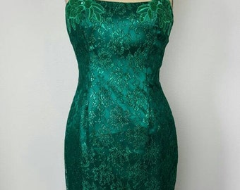Emerald Bodycon 80s Party Dress - Jessica McClintock Gunne Sax -  Small