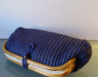 Vintage Straw Crochet Clutch  With Bamboo Accents Hong Kong