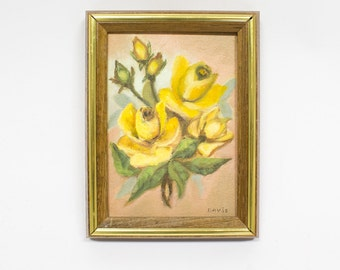 Original Oil Painting, Yellow Rose, Vintage Art, Miniature Painting