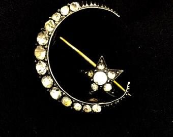 Delightful Victorian Paste Crescent Moon Brooch