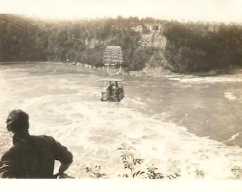 "Vintage Snapshot ""Tram Over Niagara Falls"" Aerial Car Niagara Whirlpool Aero Car 1930's Found Vernacular Photo Ontario Canada"
