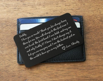 Father Daughter gift, Wallet Card, Wallet Insert Card, Engraved Wallet Card, Daddys little girl, Custom Wallet Card, Father of Bride, Card