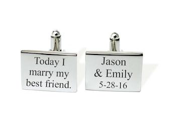 Custom cufflinks, Groom cufflinks, Mens Personalized, Gifts for Him, Stainless steel Cufflinks, groomsman cufflinks, Wedding cufflinks