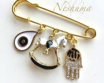 Allah Hamsa Pin, Allah Stroller Pin, Evil Eye Pin, Muslim Baby Pin, Hijab Pin, Baby Pin, Stroller Pin, Islamic Baby Gift, Allah Jewelry