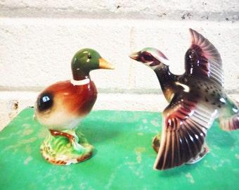 Duck salt and pepper shakers mallard pond life lake house man cave kitchen, hunt club vintage mid century